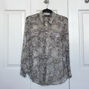 Equipment butterfly wing print silk chiffon blouse